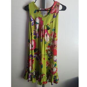 Lime Floral Midi Dress